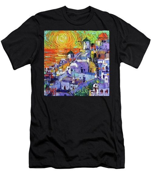 Oia Santorini Magic Light Mini Cityscape 09 - Modern Impressionist Palette Knife Oil Painting Men's T-Shirt (Athletic Fit)