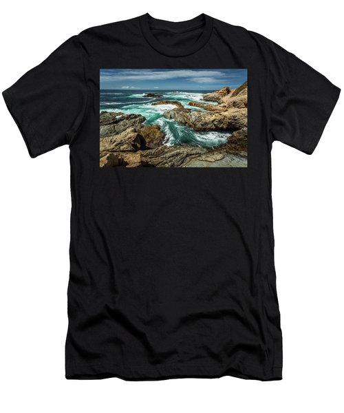Oil Paint Of Rocks And Waves Men's T-Shirt (Athletic Fit)