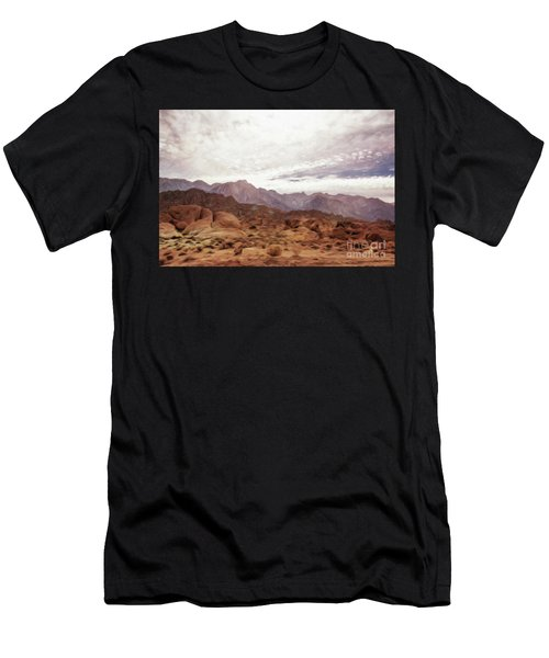 Oil Painting Rocks, Mountains And Sky At Alabama Hills, The Mob Men's T-Shirt (Athletic Fit)