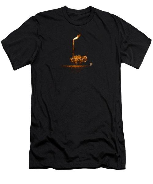 Oil Rig At Night Men's T-Shirt (Slim Fit) by Bradford Martin