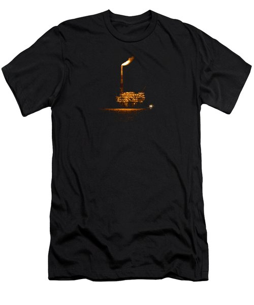 Oil Rig At Night Men's T-Shirt (Athletic Fit)