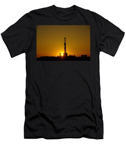 Oil Rig Near Killdeer In The Morn Men's T-Shirt (Athletic Fit)
