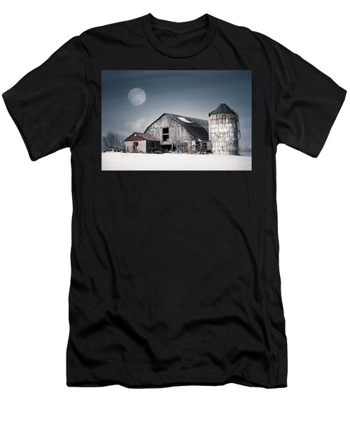 Old Barn And Winter Moon - Snowy Rustic Landscape Men's T-Shirt (Athletic Fit)