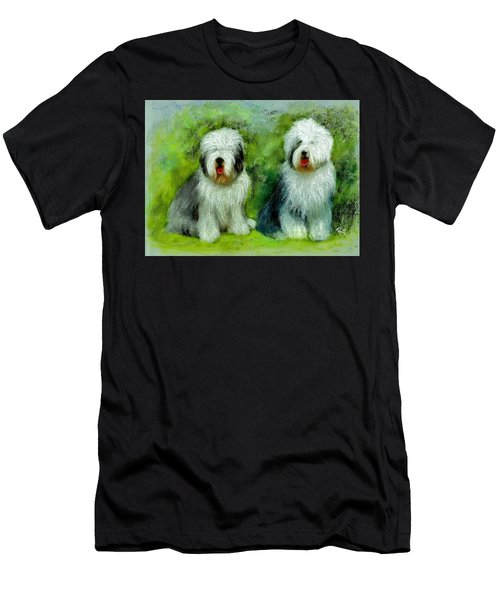 Men's T-Shirt (Athletic Fit) featuring the painting Old English Sheepdog by Ryn Shell