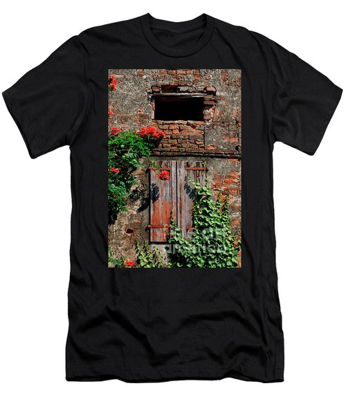 Men's T-Shirt (Athletic Fit) featuring the photograph Old Farm Window by Frank Stallone