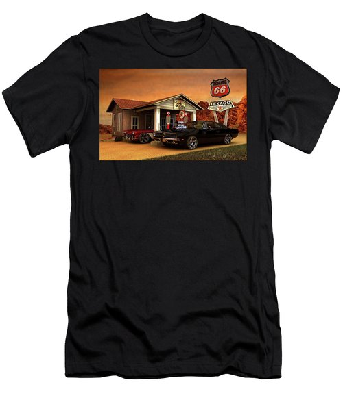 Men's T-Shirt (Slim Fit) featuring the photograph Old Gas Station American Muscle by Louis Ferreira