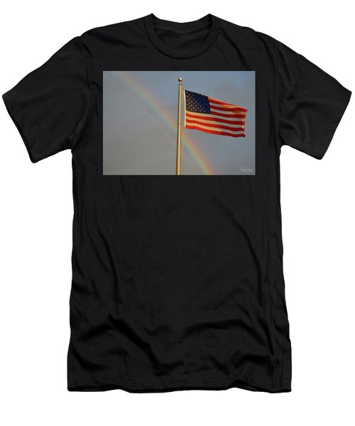 Old Glory And Rainbow Men's T-Shirt (Athletic Fit)