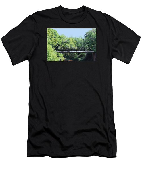 Men's T-Shirt (Slim Fit) featuring the photograph Old Iron Bridge Over Caddo Creek by Sheila Brown
