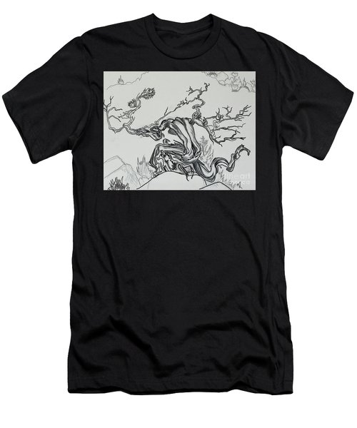 Old Juniper Dancing With The Wind -- Field Sketch Men's T-Shirt (Slim Fit) by Dawn Senior-Trask