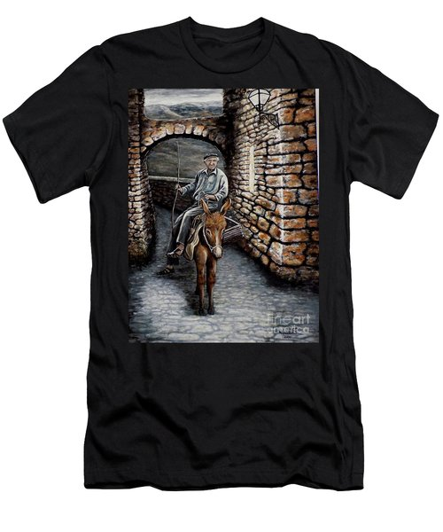 Old Man On A Donkey Men's T-Shirt (Athletic Fit)