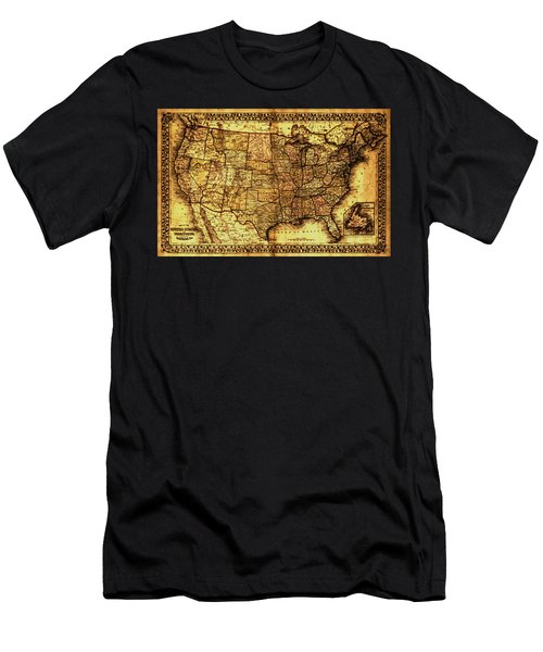 Old Map United States Men's T-Shirt (Athletic Fit)