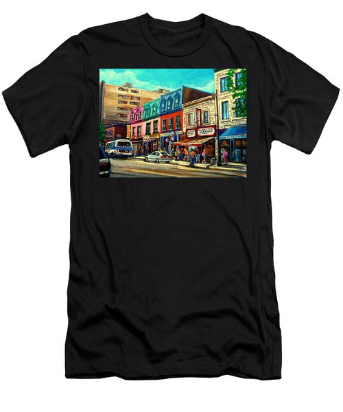 Old Montreal Schwartzs Deli Plateau Montreal City Scenes Men's T-Shirt (Athletic Fit)