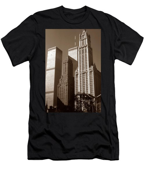 Old New York Photo - Woolworth Building And World Trade Center Men's T-Shirt (Athletic Fit)