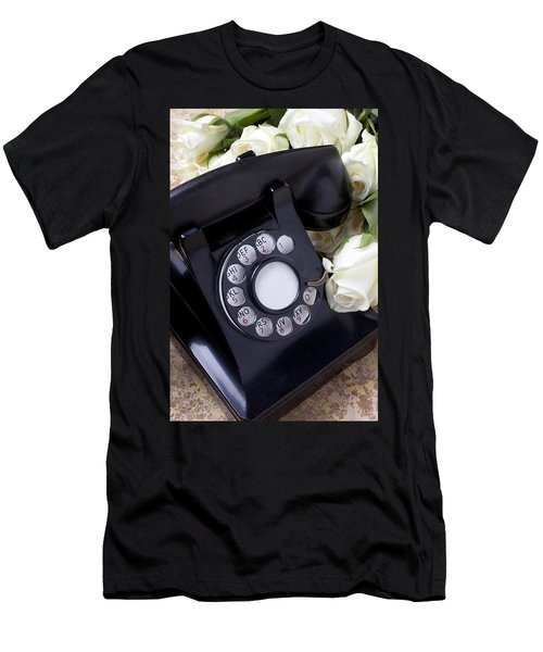 Old Phone And White Roses Men's T-Shirt (Athletic Fit)