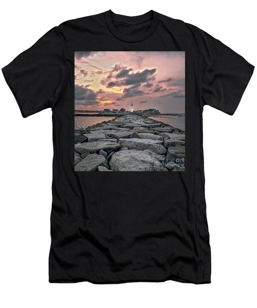 Old Scituate Light At The End Of The Jetty Men's T-Shirt (Athletic Fit)
