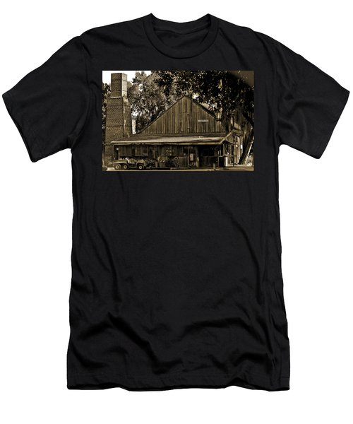 Men's T-Shirt (Slim Fit) featuring the photograph Old Spanish Sugar Mill Sepia by DigiArt Diaries by Vicky B Fuller