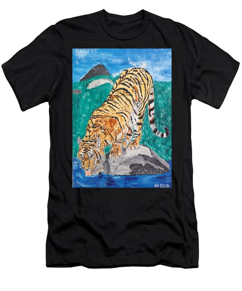 Old Tiger Drinking Men's T-Shirt (Athletic Fit)