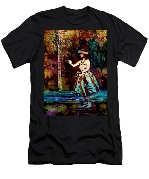 Men's T-Shirt (Slim Fit) featuring the painting Old Time Hula Dancer by Marionette Taboniar