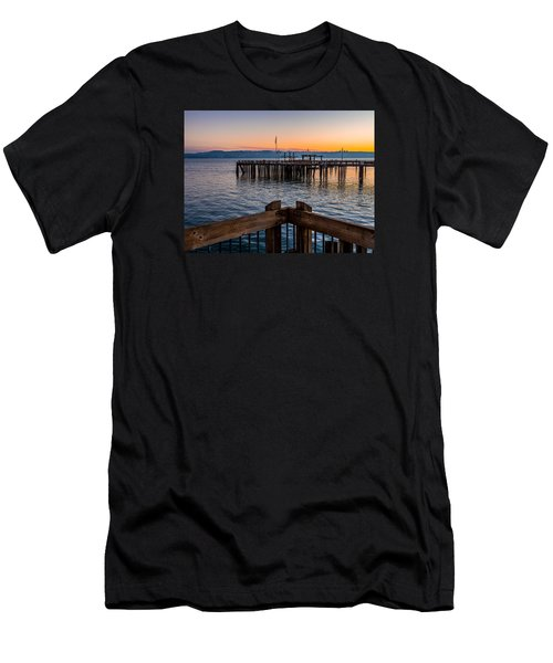 Men's T-Shirt (Slim Fit) featuring the photograph Old Town Pier During Sunrise On Commencement Bay by Rob Green