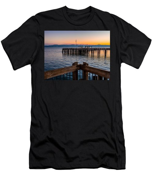 Old Town Pier During Sunrise On Commencement Bay Men's T-Shirt (Athletic Fit)