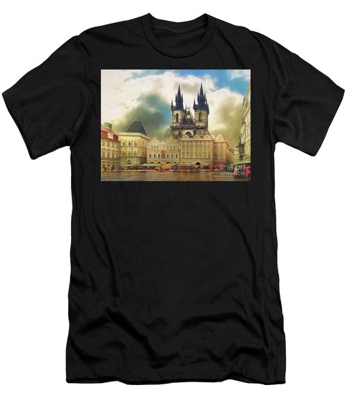 Old Town Square Prague In The Rain Men's T-Shirt (Athletic Fit)