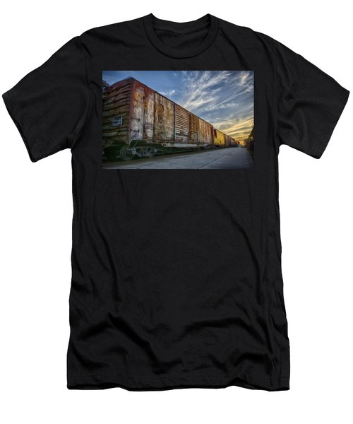 Men's T-Shirt (Slim Fit) featuring the tapestry - textile Old Train - Galveston, Tx by Kathy Adams Clark