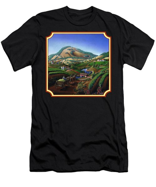 Old Wine Country Landscape Painting - Worker Delivering Grape To The Winery -square Format Image Men's T-Shirt (Athletic Fit)