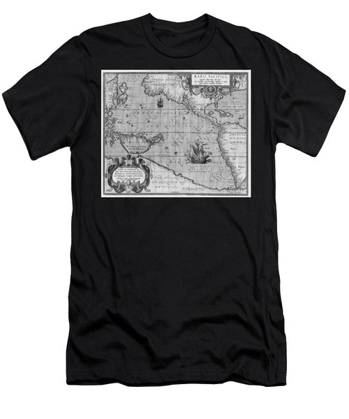 Men's T-Shirt (Athletic Fit) featuring the drawing Old World Map Print From 1589 - Black And White by Marianna Mills