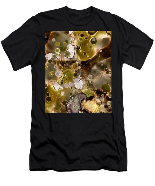 Men's T-Shirt (Slim Fit) featuring the painting Olive Metal Abstract by Patricia Lintner