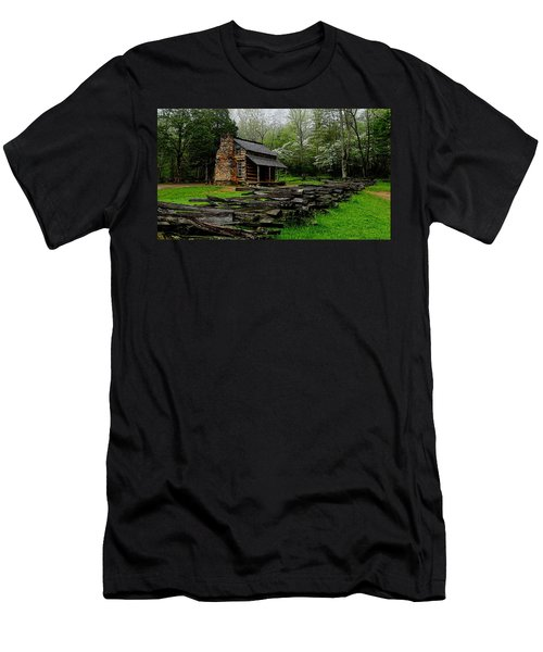 Oliver's Cabin Among The Dogwood Of The Great Smoky Mountains National Park Men's T-Shirt (Athletic Fit)