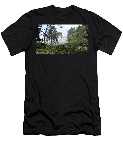 Olympic National Park Beach Men's T-Shirt (Slim Fit) by Tony Mathews