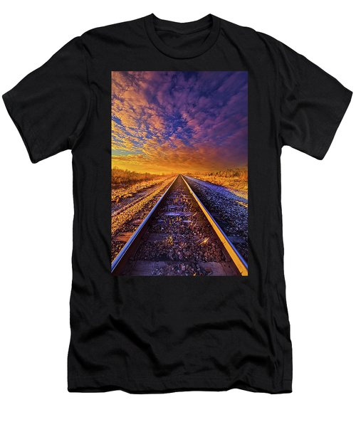 Men's T-Shirt (Slim Fit) featuring the photograph On A Train Bound For Nowhere by Phil Koch