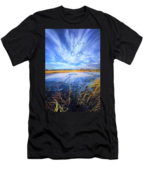 Men's T-Shirt (Slim Fit) featuring the photograph On Frozen Pond by Phil Koch