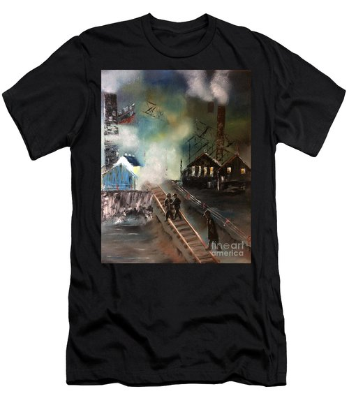 Men's T-Shirt (Athletic Fit) featuring the painting On The Pennsylvania Tracks by Denise Tomasura