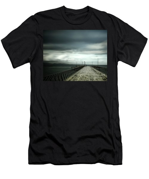 Men's T-Shirt (Slim Fit) featuring the photograph On The Pier by Perry Webster