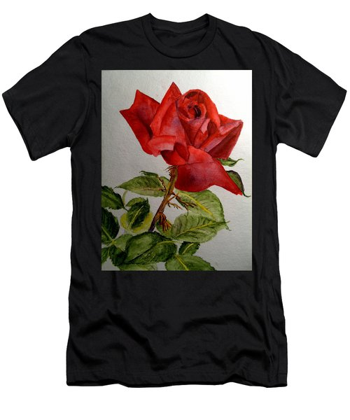 One Single Red Rose Men's T-Shirt (Athletic Fit)