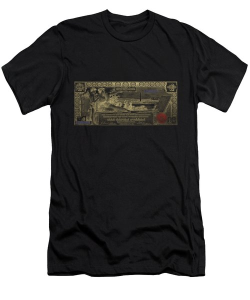 Men's T-Shirt (Slim Fit) featuring the digital art One U.s. Dollar Bill - 1896 Educational Series In Gold On Black  by Serge Averbukh