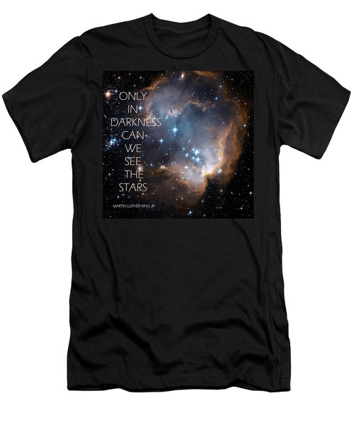 Men's T-Shirt (Slim Fit) featuring the digital art Only In Darkness by Lora Serra