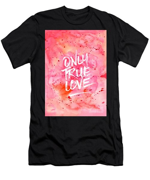 Only True Love Handpainted Abstract Watercolor Red Pink Orange Men's T-Shirt (Athletic Fit)