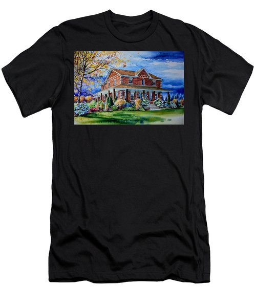 Men's T-Shirt (Athletic Fit) featuring the painting Ontario House Portrait  by Hanne Lore Koehler