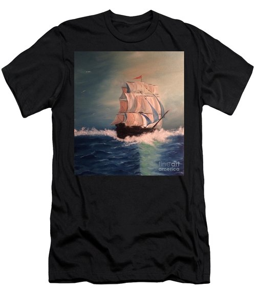 Men's T-Shirt (Athletic Fit) featuring the painting Open Seas by Denise Tomasura