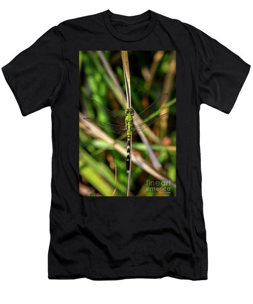 Men's T-Shirt (Slim Fit) featuring the photograph Openminded Green Dragonfly Art by Reid Callaway