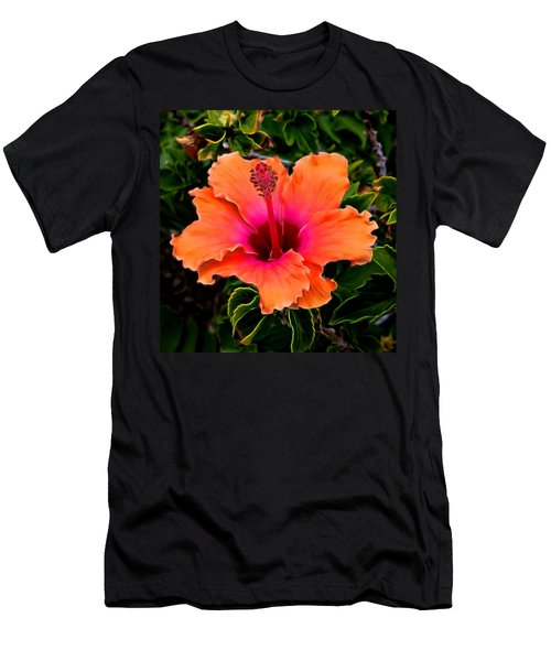 Orange And Pink Hibiscus 2 Men's T-Shirt (Athletic Fit)
