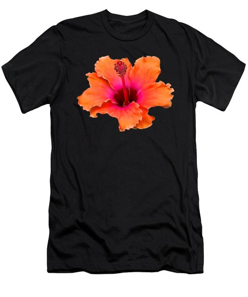 Orange And Pink Hibiscus Men's T-Shirt (Athletic Fit)