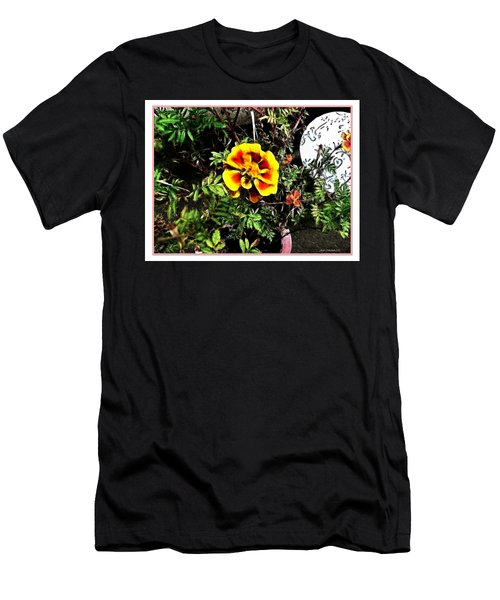 Men's T-Shirt (Slim Fit) featuring the photograph Orange And Yellow Flower by Joan  Minchak