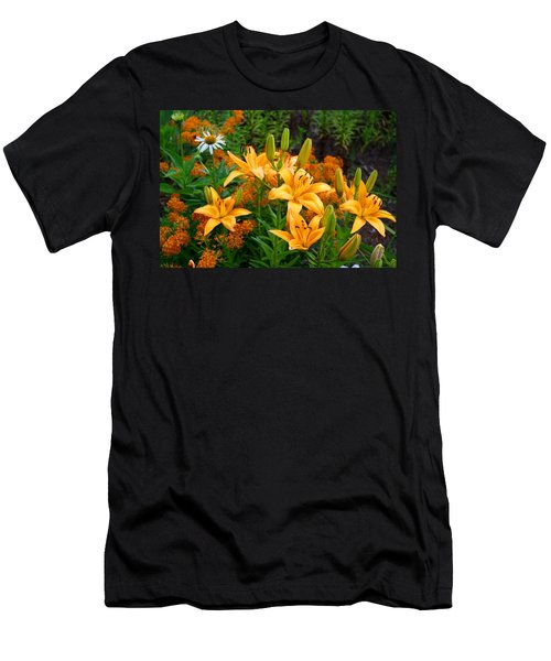 Men's T-Shirt (Slim Fit) featuring the photograph Orange Asiatic Lilies And Butterfly Weed by Kathryn Meyer