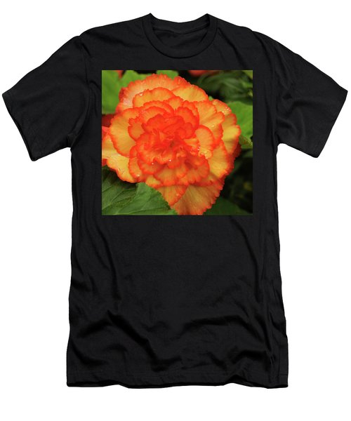 Orange Begonia Men's T-Shirt (Slim Fit) by Haleh Mahbod