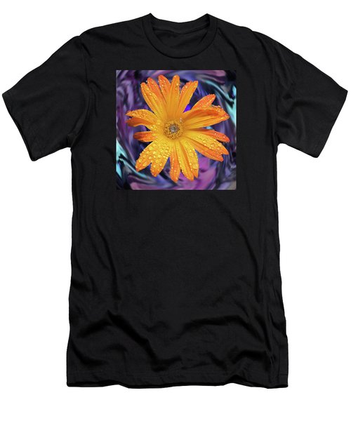 Orange Daisy Swirl Men's T-Shirt (Athletic Fit)