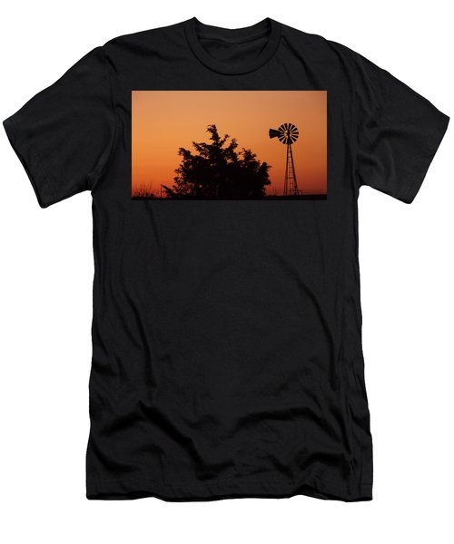 Men's T-Shirt (Athletic Fit) featuring the photograph Orange Dawn With Windmill by Shelli Fitzpatrick