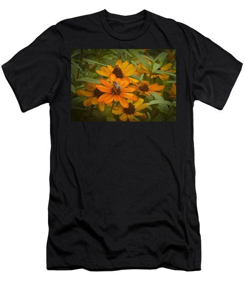 Orange Flowers And Bee Men's T-Shirt (Athletic Fit)